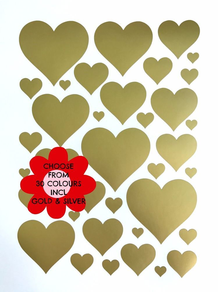 37 Removable Valentine Hearts Vinyl Wall Decal Stickers, Gold Heart ...