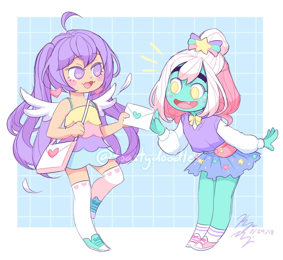 Anime Alien Girl i drew some girls based on the ones i made in the pastel
