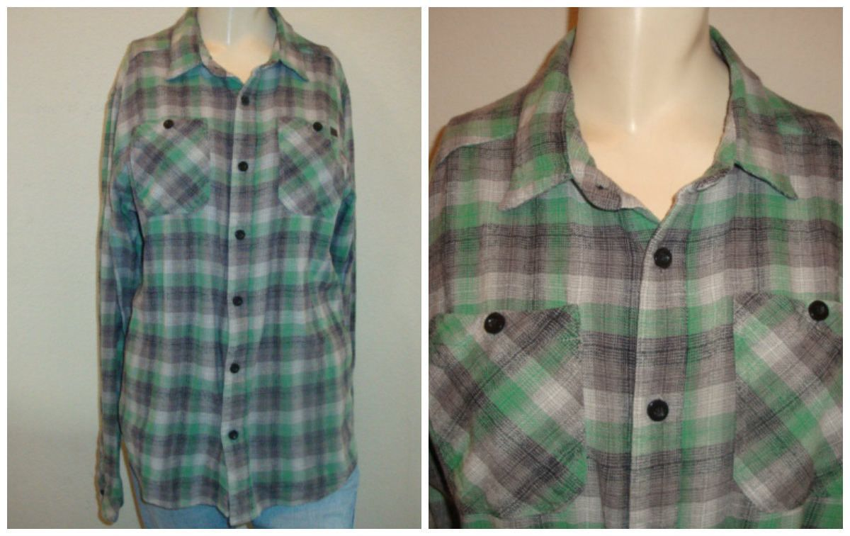 Retro flannel shirts  vintage CHECKERED plaid green blue gray button up oversize small