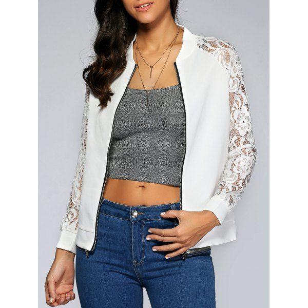 Lace Splicing Zipped Jacket 9.07 USD