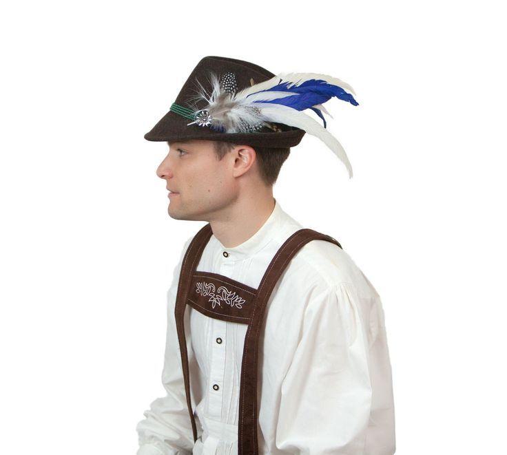 Blue & White Oktoberfest Hat Feather Edelweiss Medallion