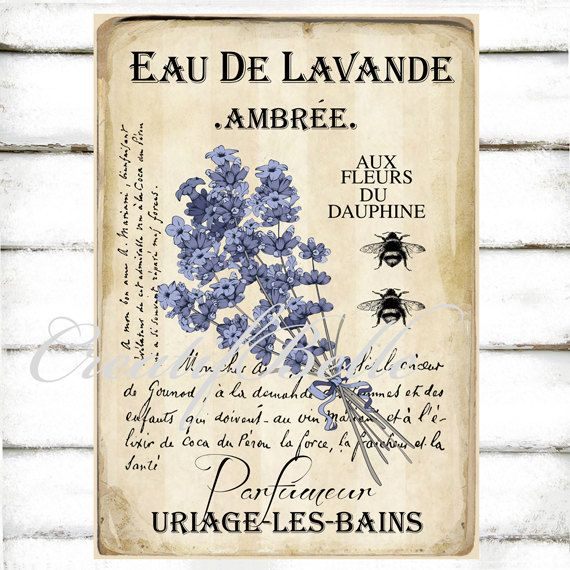 eau de lavande vintage lavender perfume label large instant digital download printable herb. Black Bedroom Furniture Sets. Home Design Ideas