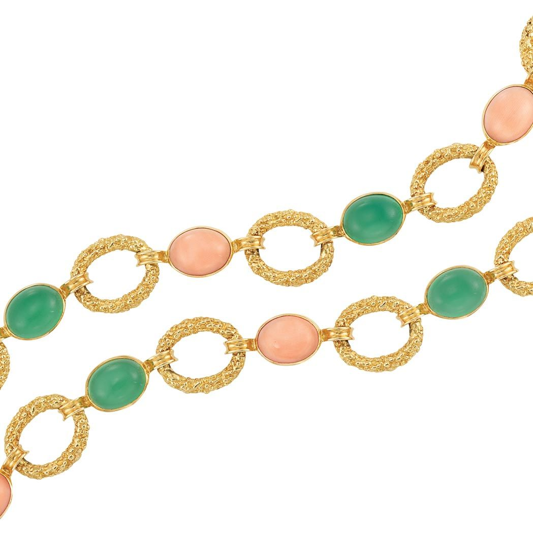 8d56e282ee28a Lot 241 - Gold, Coral and Green Onyx Necklace-Bracelet Combination ...