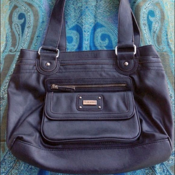 Tyler Rodan Black Hobo Bag Pleather With Multicolored Striped Interior Lining And Multiple Compartments Pockets