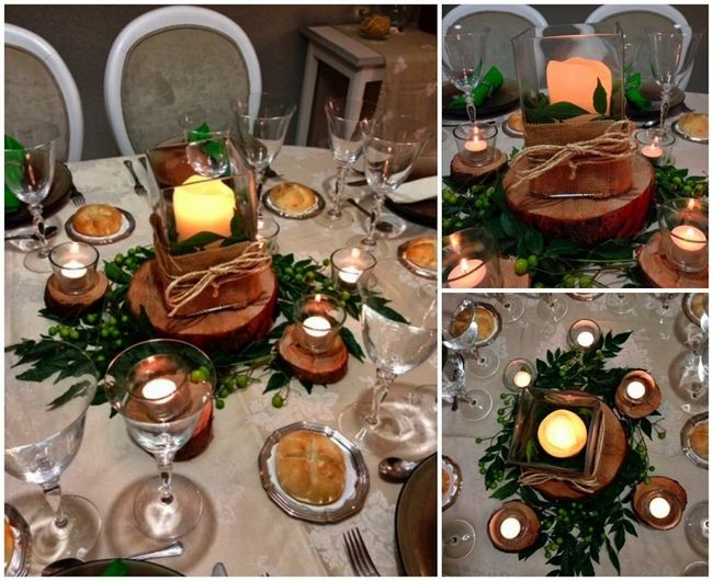 Glass Candle Holders On Wooden Slices And Greenery Christmas Ideas House Home Christmas Candle Centerpieces Christmas Candles Diy Wood Slice Candle Holder