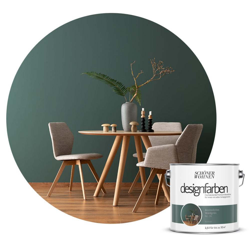 Designfarbe Besinnliches Waldgrun In 2020 Schoner Wohnen Farbe Schoner Wohnen Wandfarbe Schoner Wohnen