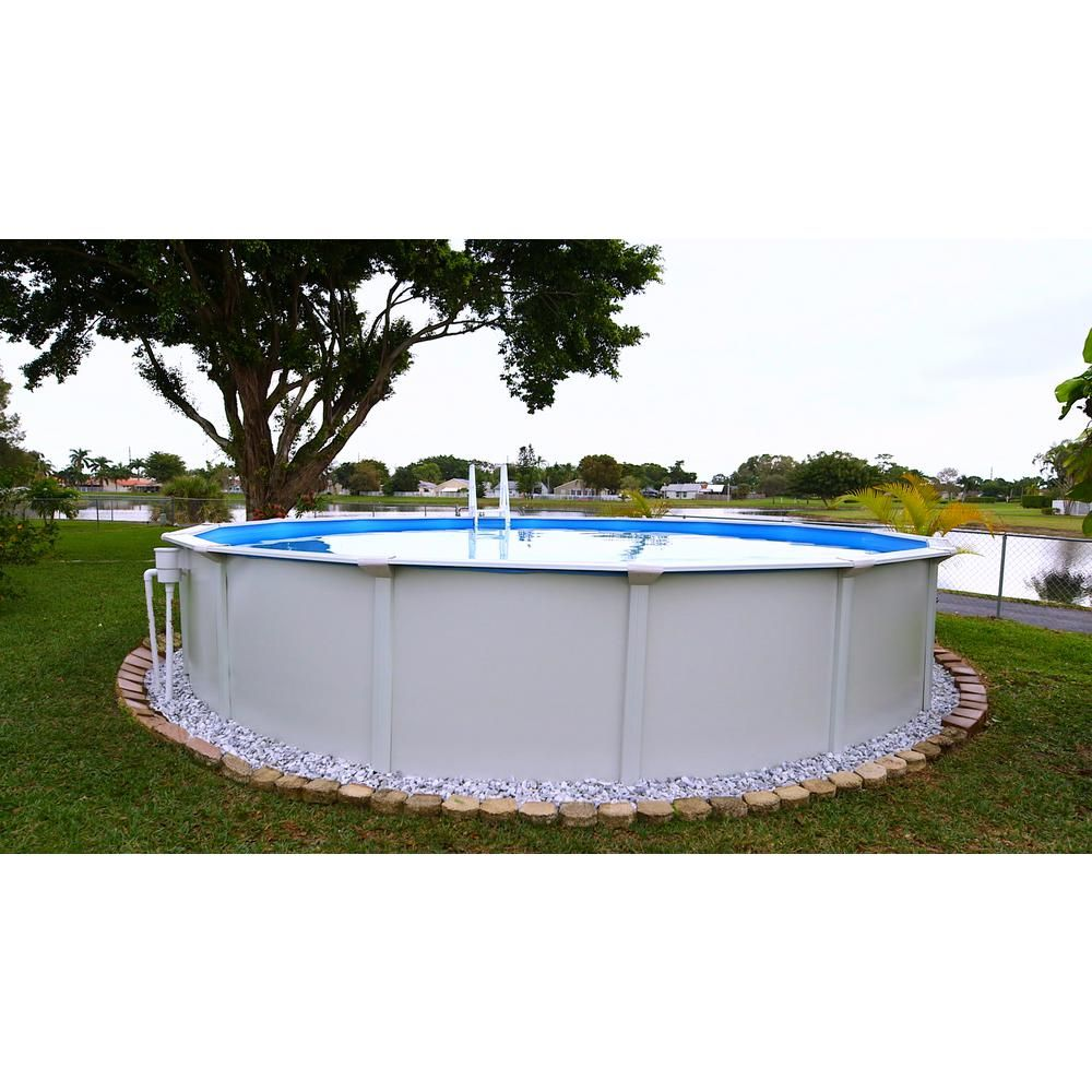 Santorini 18 Ft Round X 52 In D Above Ground Pool Package 3 Additional Items Included Agp1801 The Home Depot In Ground Pools Above Ground Pool Steel Wall