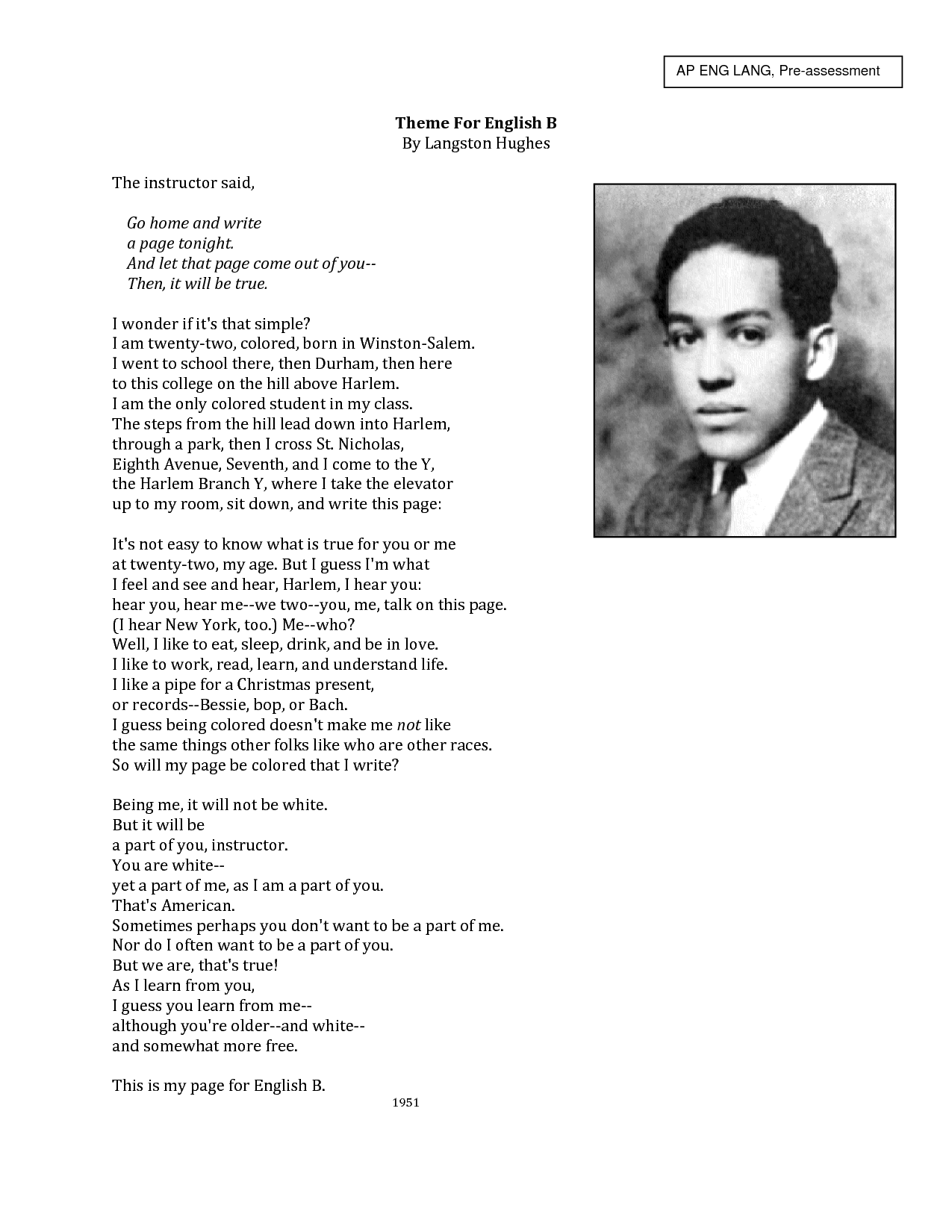 salvation essay hughes In salvation, written in 1940, langston hughes shares his early experience in the realm of religion hughes visits a big revival at his auntie reed's church where he was saved from sin however, the little boy fails to actually be saved and his expectation turns out to be a disappointment at the.