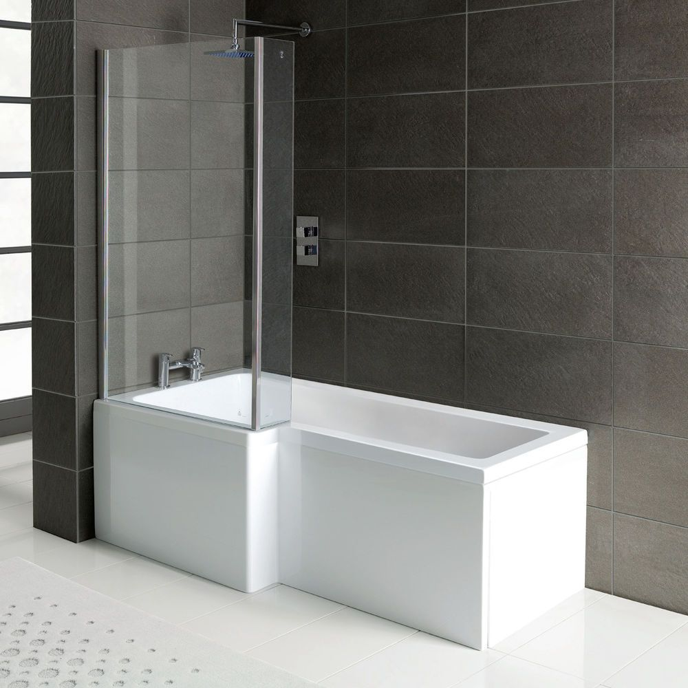 L shape square shower bath 1700 with panels, hinged screen & waste ...