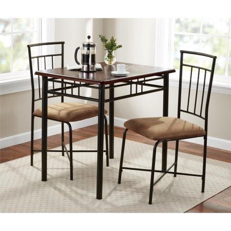 Astonishing Mainstays 3 Piece Dining Set Wood And Metal Pick Up Brown Pdpeps Interior Chair Design Pdpepsorg