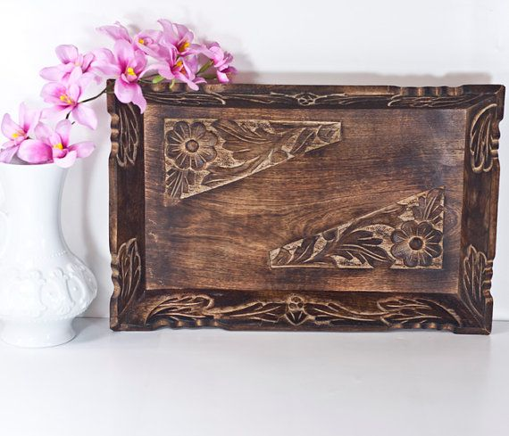 Ottoman Wooden Tray Vintage Hand Carved Decorative Wooden