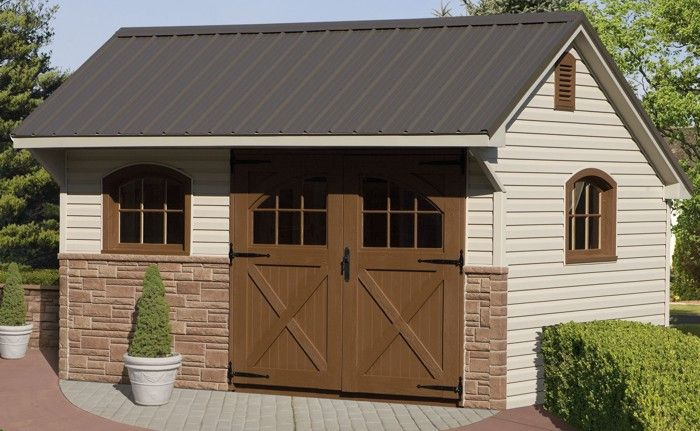 10x14 Vinyl Providence Carriage House Sheds Outdoor Storage Shed House Exterior
