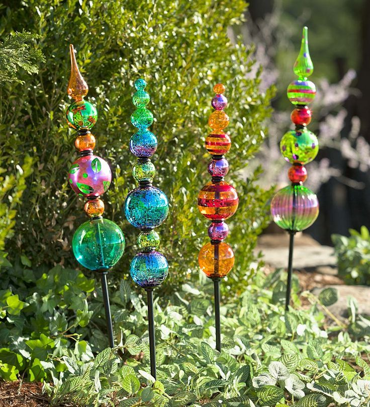 Glass Finial Totem Garden Stake Blue And The Green One So One Of Each