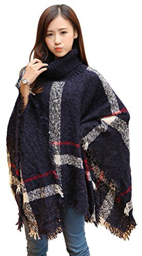 Women's Knitted Winter Tartan Cape Stylished Poncho Plaid Turtleneck Cape -- More details @…