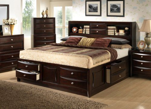 Roundhill Furniture Ankara Wood Bedroom Set, Includes King Bed ...