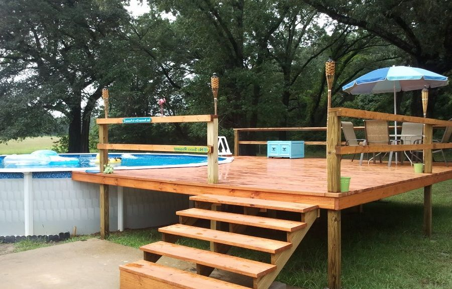 wooden deck ideas for above ground pool | Size Large : outstanding Pleasing Pool Decks Magnificent ...