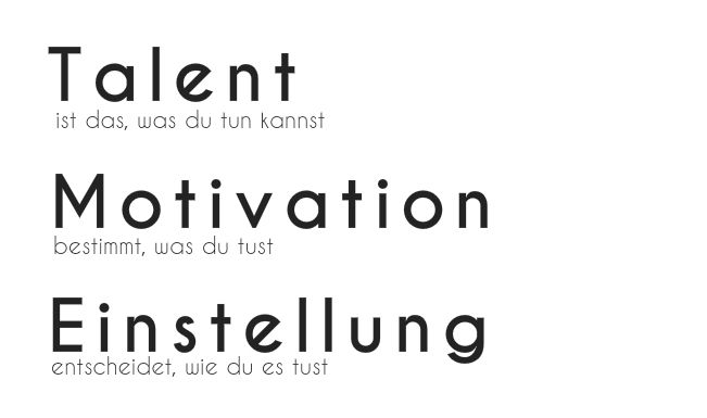 Talent, Motivation, Einstellung #Zitat