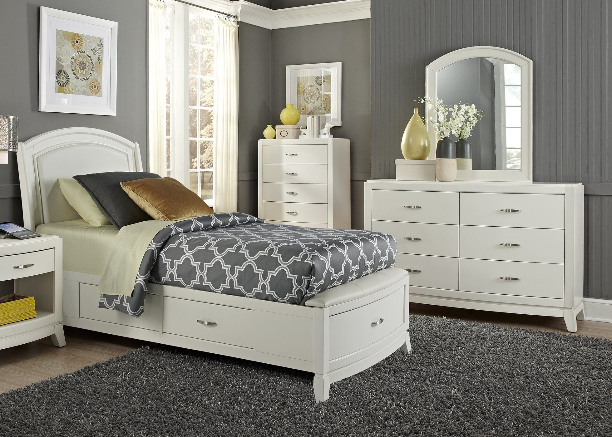 Avalon ii youth twin one sided storage piece bedroom set in