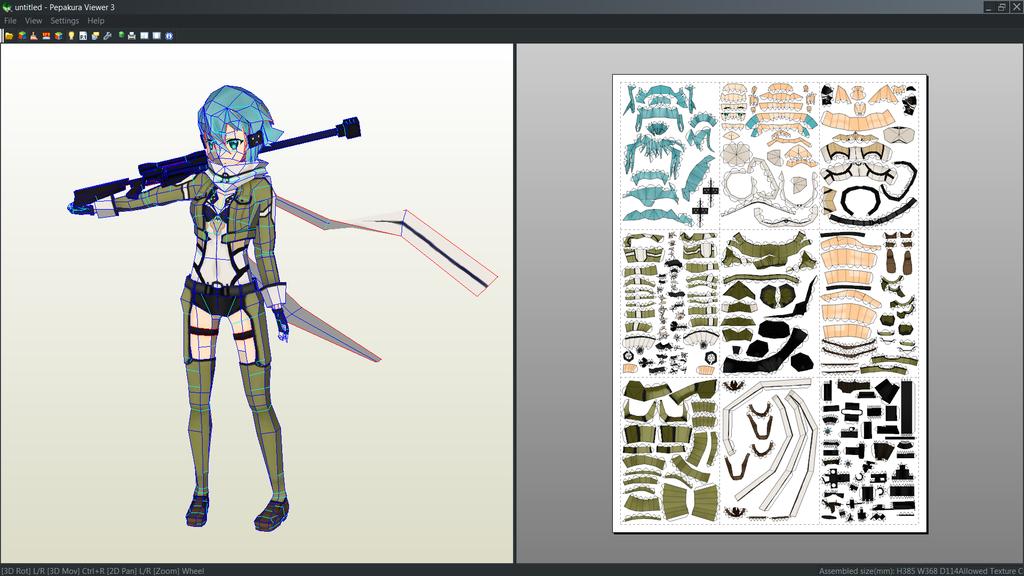 Shinon SAO Papercraft Unfold By Antyyydeviantart On DeviantArt