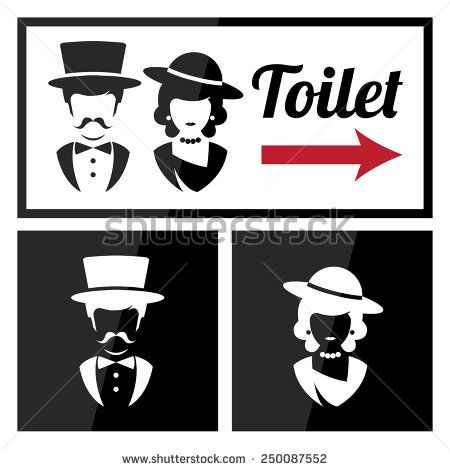 Bathroom Sign Male Vector male and female restroom symbol icons in retro style. vector