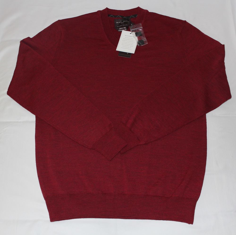 Details about Men,s BLACK BROWN 1826 Italian Merino Wool V-Neck ...