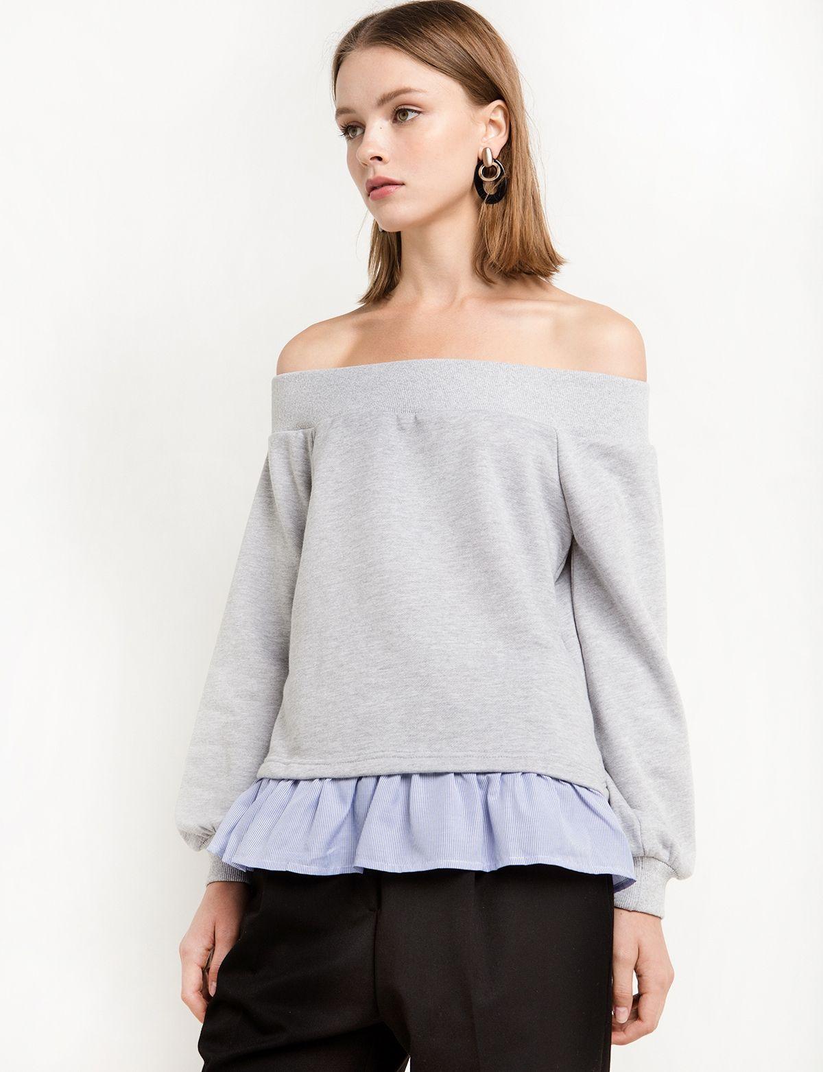 Off The Shoulder Combo Sweatshirt