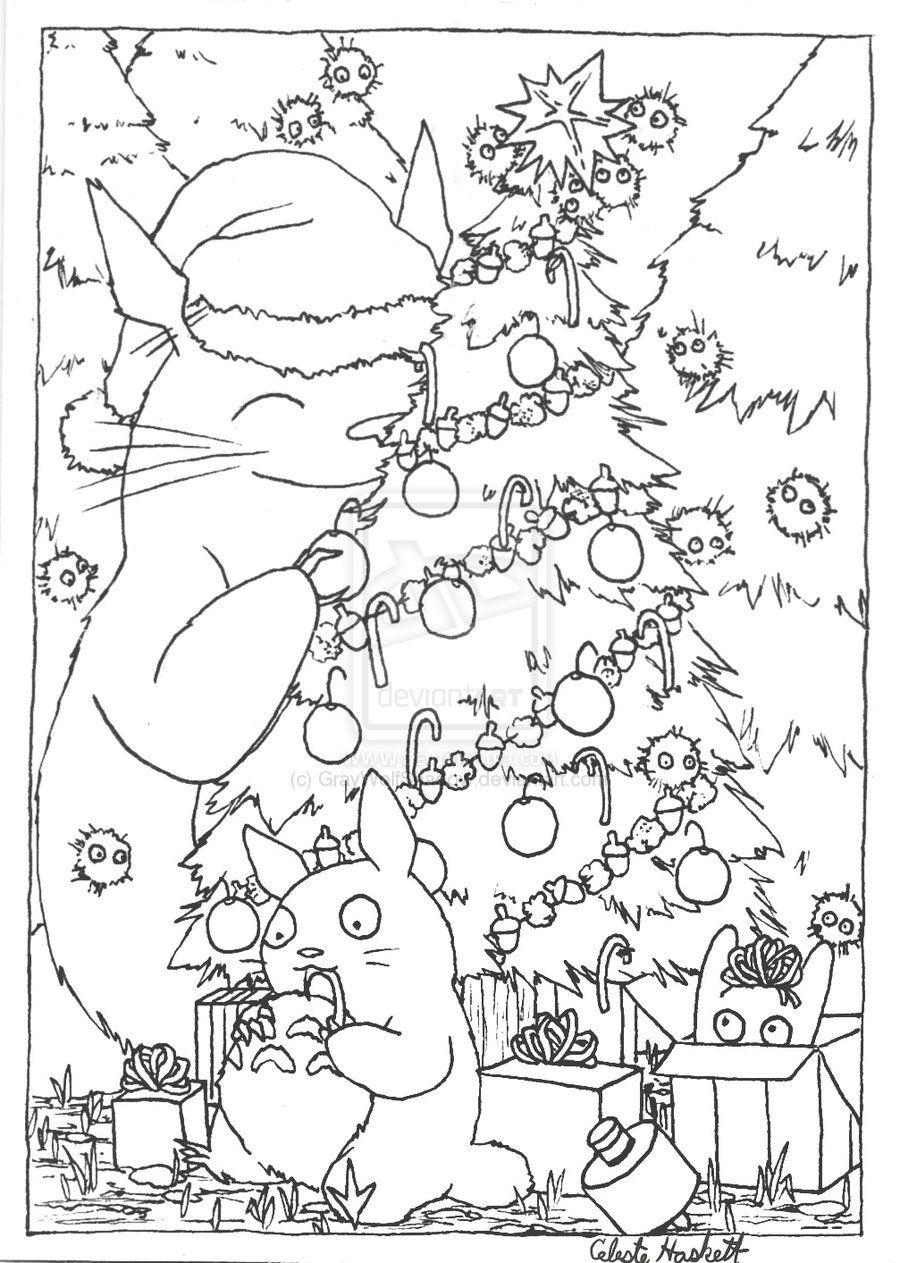 totoro christmas card lineart by GrayWolfShadow.deviantart.com on ...