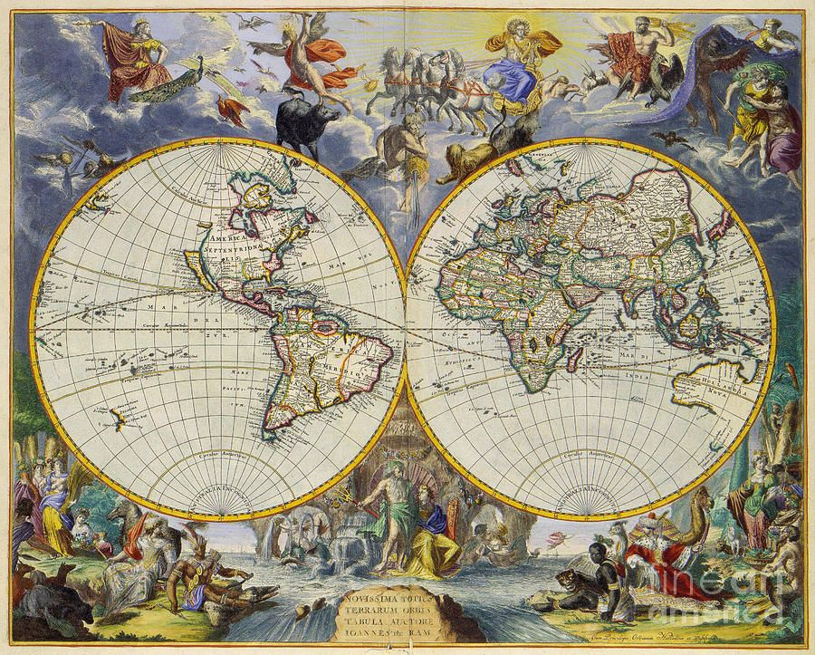 Artistic Old World Art Map By Inspired Nature Photography Fine Art - Artistic world map