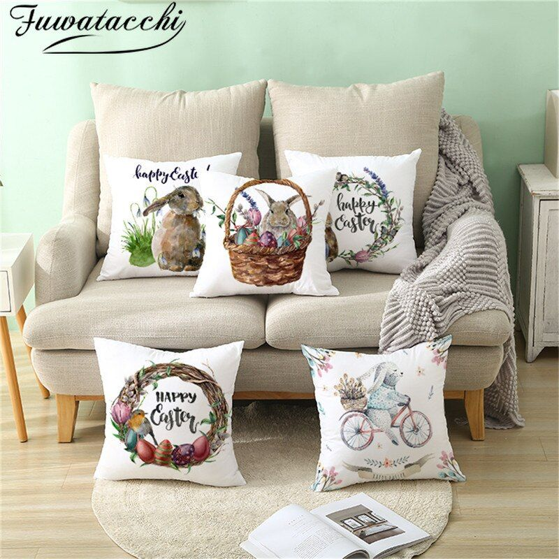 Fuwatacchi Happy Easter Words Pillows Cover Cute Rabbit Cushion Cover Wreath Pri...