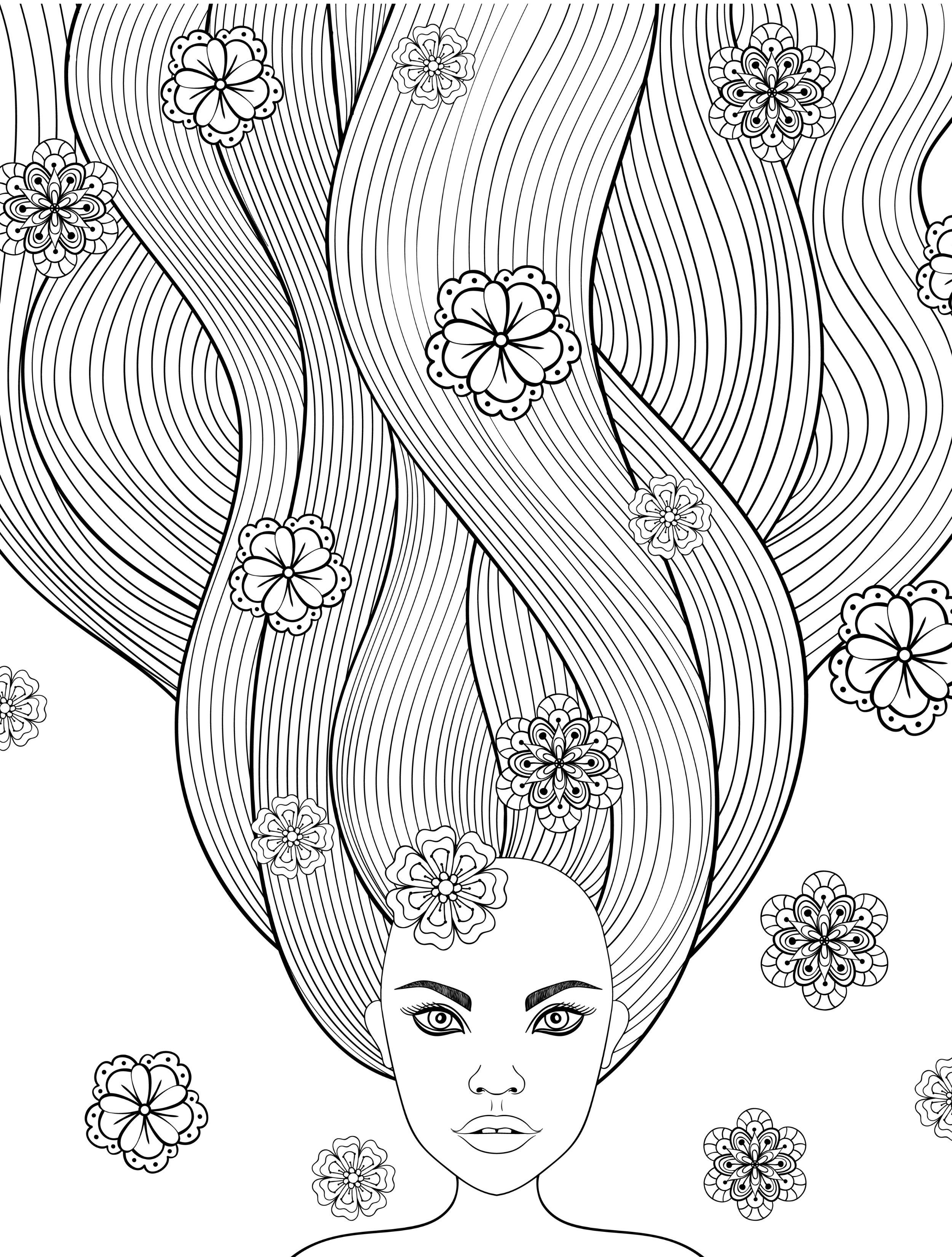 free printable adult coloring pages with long hair girls free print ...
