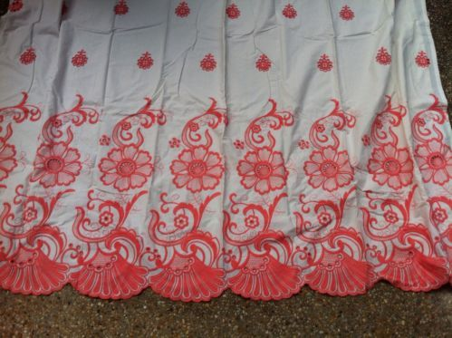 118 Anthropologie Coral Embroidered Scalloped Shower Curtain
