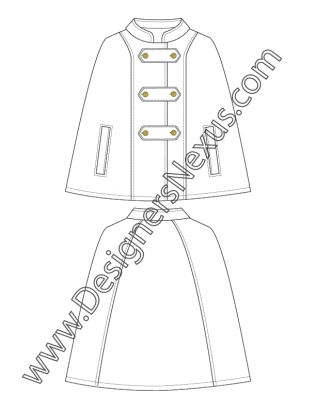 011 Technical Flat Sketch Mandarin Collar Cloak Free Download And More Flat Fashion Sketches In Illustrator Fashion Flats Technical Drawing Flat Sketches