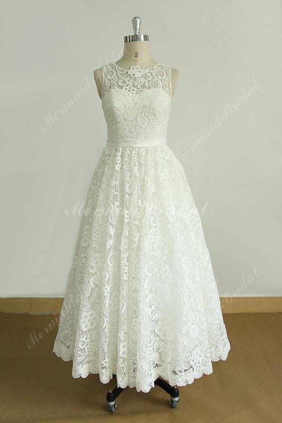Ivory Lace Tea Length Wedding Dress by MermaidBridal