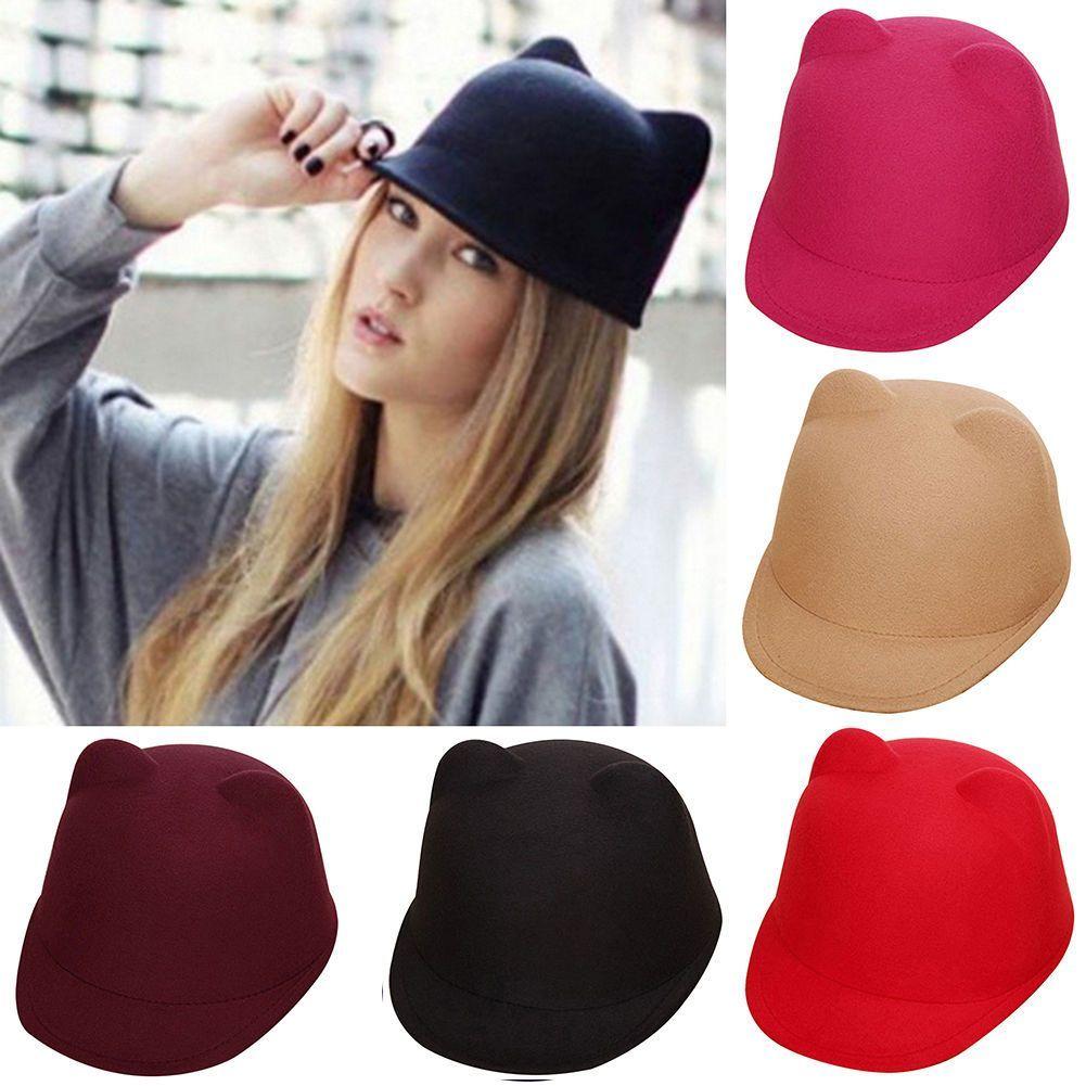 Cute Winter Popular Women Devil Hat Quality Kitty Cat Ears Wool Derby  Bowler Cap 2d62180b64ee