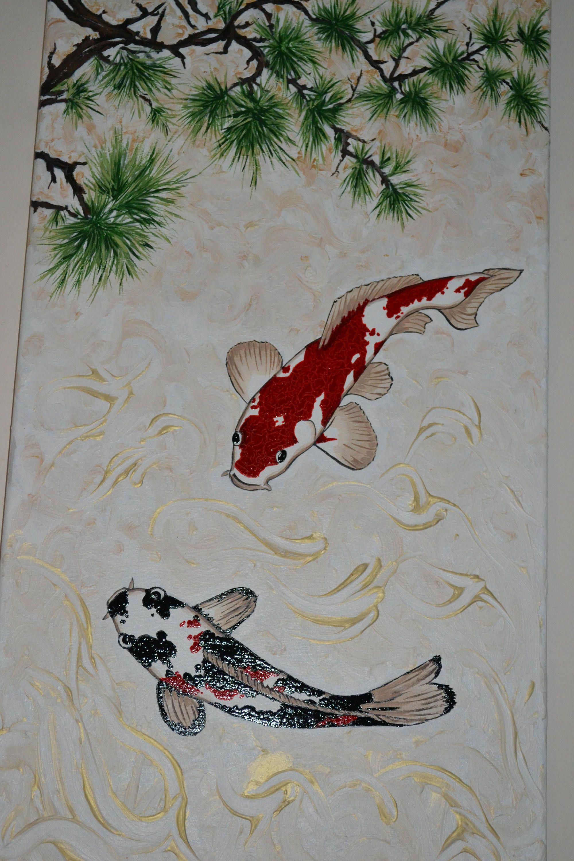 Tableau Acrylique Japon Sur Commande Carpes Koi Et Branche De Pin