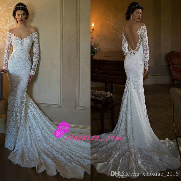 Berta Y Backless Full Lace 2016 Mermaid Wedding Dresses Deep Neckline Open Back Beaded Off Shoulder Long Sleeves Bride Beach Bridal Gowns Online With