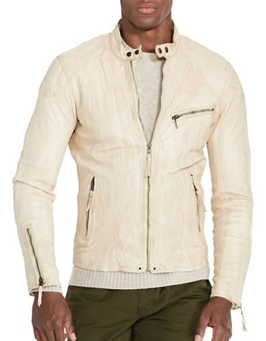 Polo Ralph Lauren Lambskin Cafe Racer Jacket Men's Beige Medium