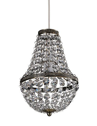Chandelier with cut crystal drops, black lampshades