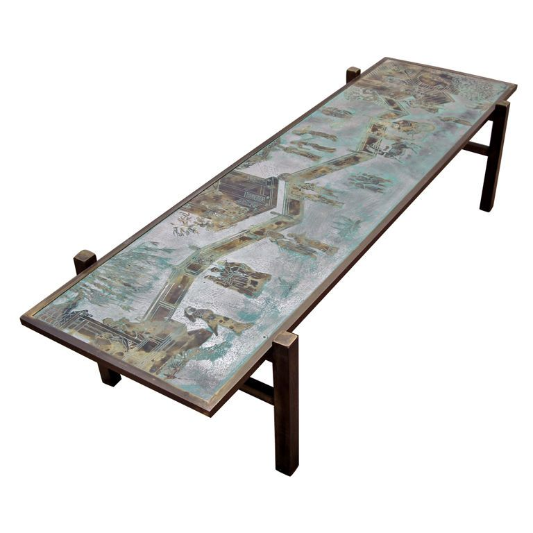 Exceptional Signed Philip And Kelvin LaVerne Coffee Table