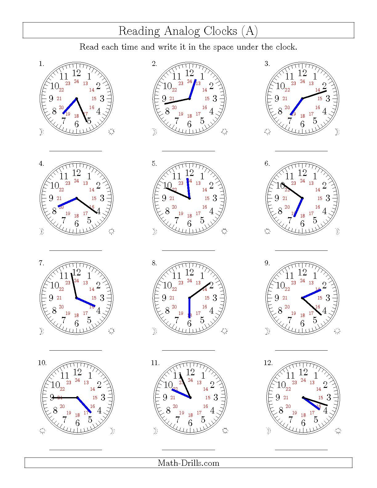 The Reading Time On 24 Hourog Clocks In 1 Minute