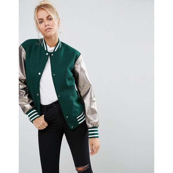 ASOS Bomber Jacket With Metallic Sleeves (285 BRL) ❤ liked on Polyvore featuring outerwear, jackets, green, metallic jackets, blouson jacket, green flight jacket, asos and pocket jacket