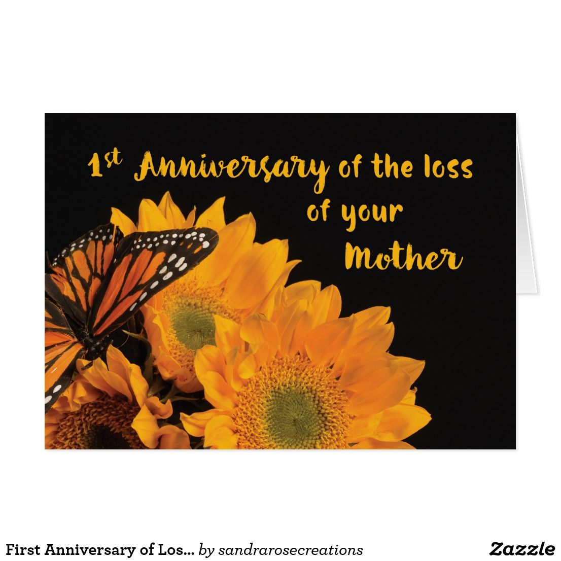 First Anniversary of Loss of Mother Butterfly Card  Zazzle.com