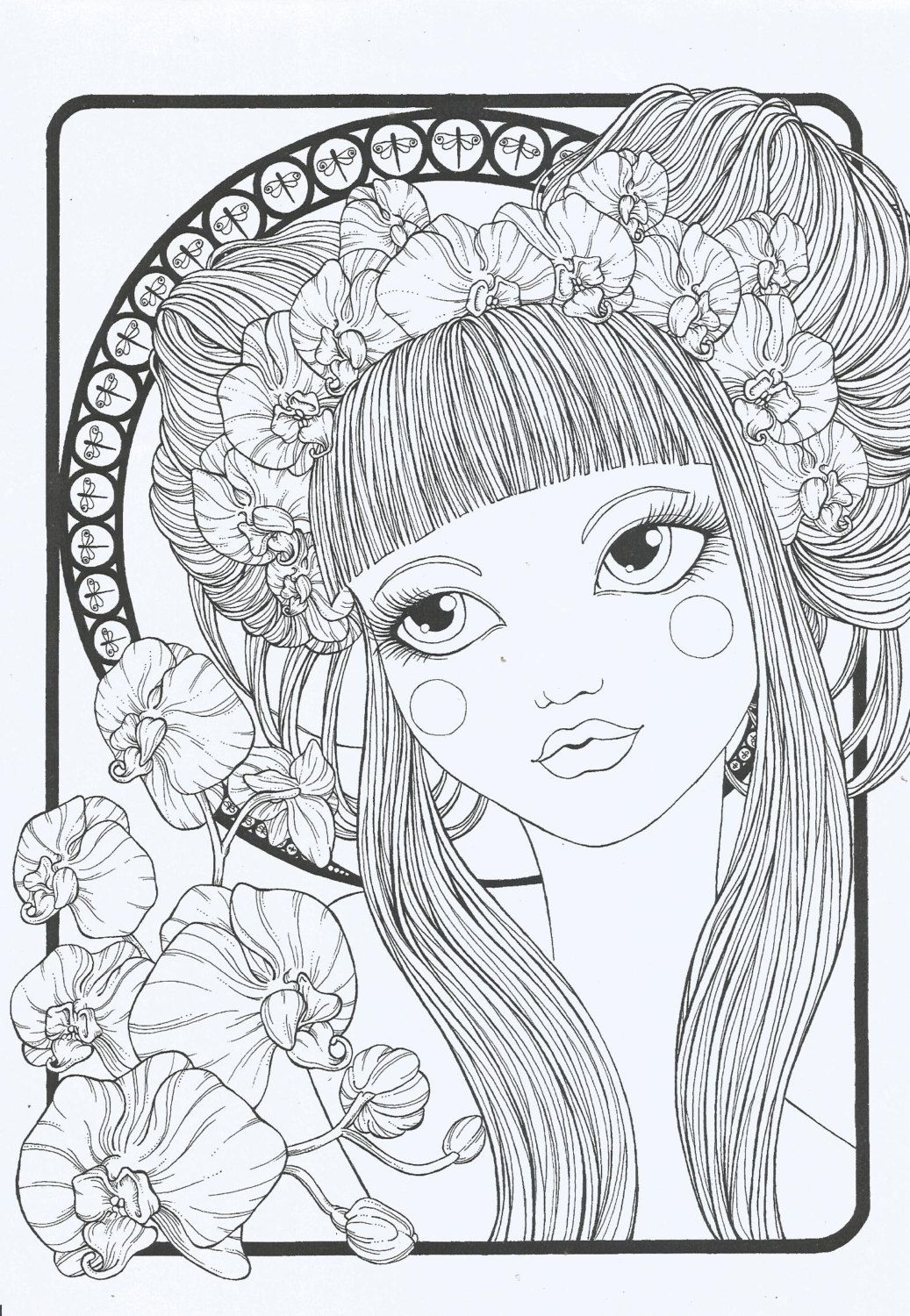 Coloring Book Floral Girls Pattern Coloring Pages Coloring Books Cute Coloring Pages