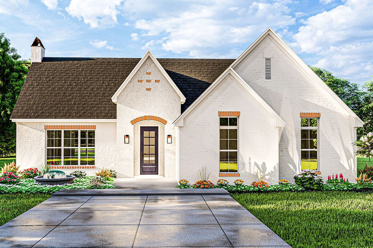 Plan 62157v Darling French Country Cottage With Vaulted Ceiling Country Style House Plans Cottage Style House Plans Cottage House Plans