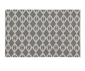Handgeweven in-/outdoor tapijt Diamond, grijs/wit, 120 x 180 cm
