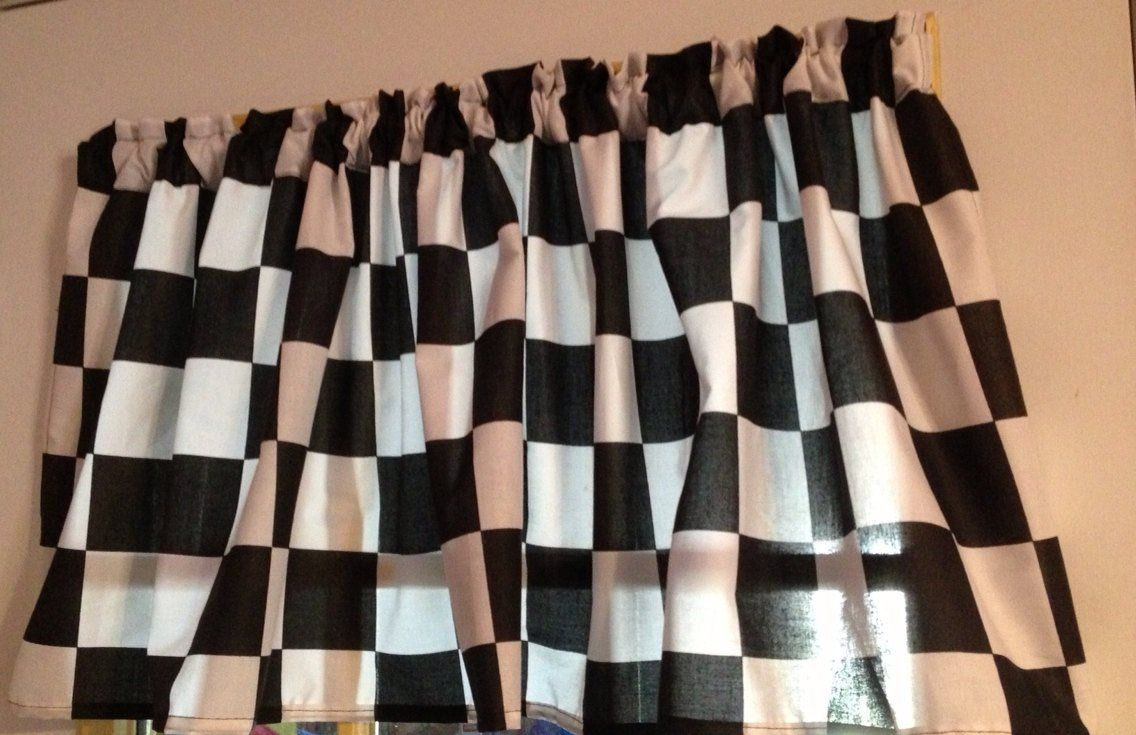 Amazon Com Window Curtain Valance Made From Nascar Checkered Flag Fabric Shower Curtains Valance Curtains Valance Fabric Shower Curtains