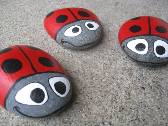 Ladybug Stone - hand painted, Lake Superior Basalt garden stone or decor - Perfect gift for garden or ladybug lovers. FREE SHIP