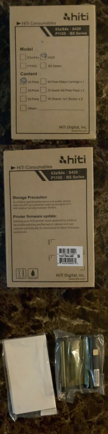 50 Sheets 4x6 Prints Hiti Paper and Ribbon Pack for S420 Printer