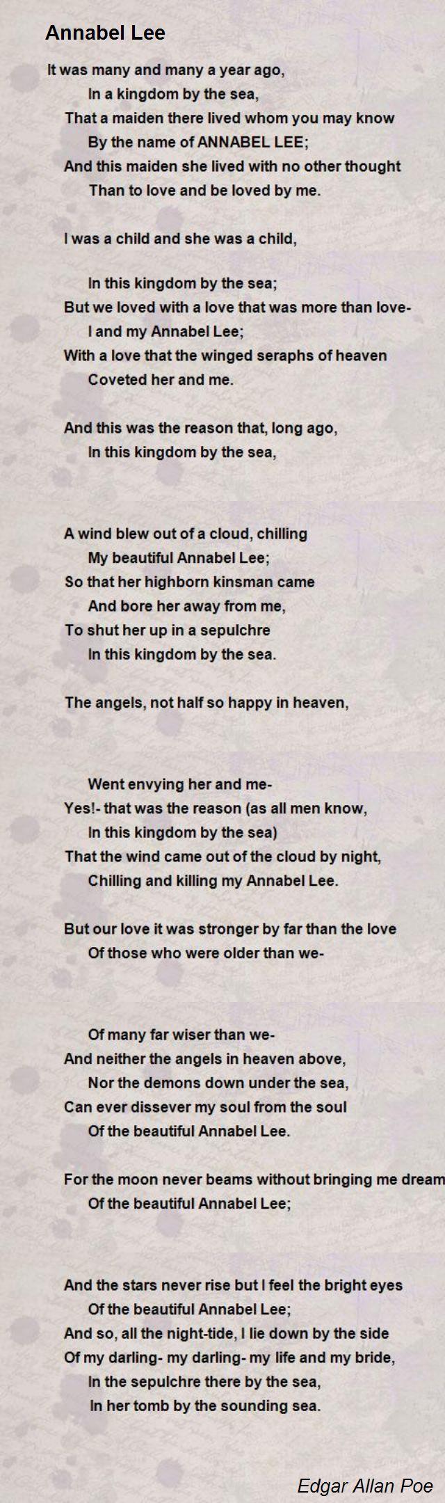 Annabel Lee Poem By Edgar Allan Poe Poem Hunter Poems Annabel Lee Poe Quotes