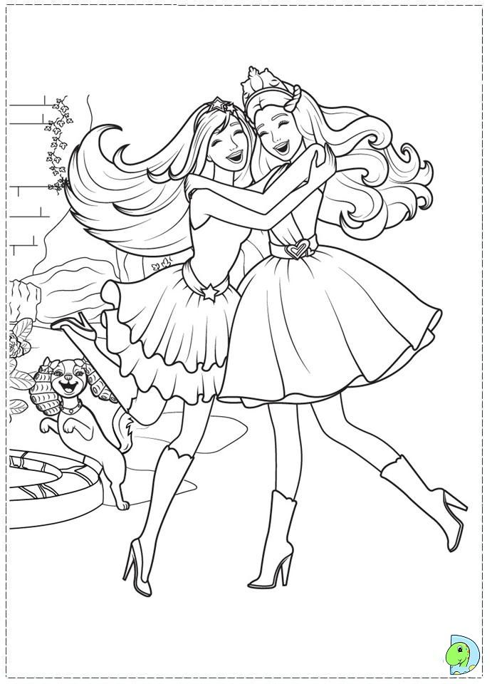 Barbie The Princess And Popstar Coloring Page